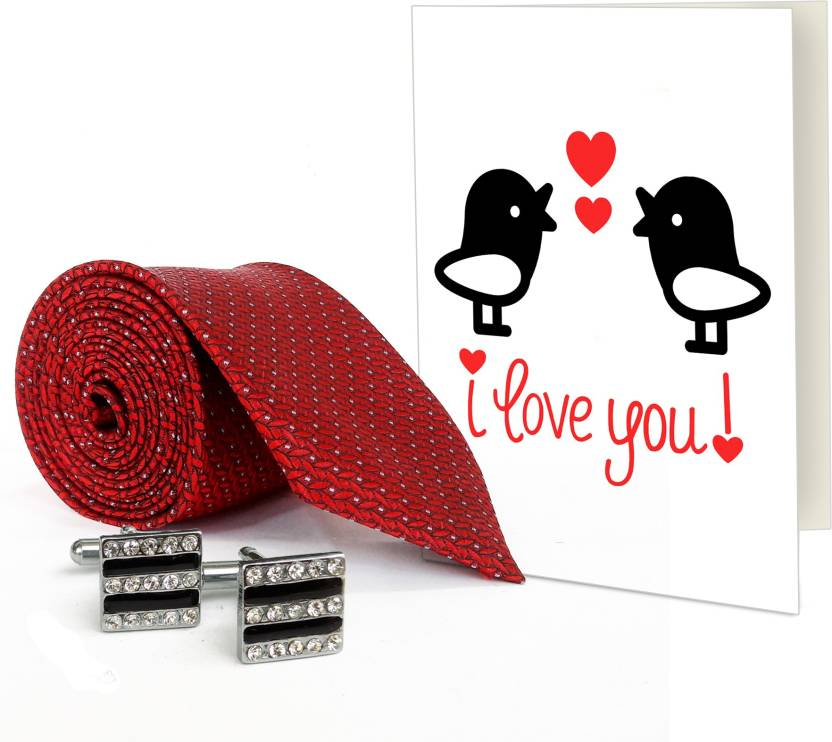 Tied Ribbons Valentines Day Romantic Gifts For Husband Greeting Card With Silver Cufflinks And Mens Tie