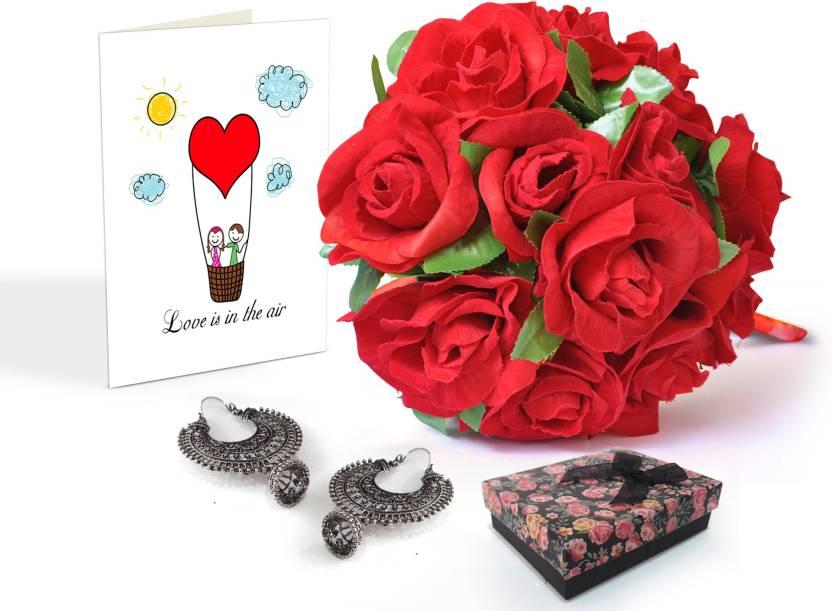 Tiedribbons Valentine Gifts For Girlfriend Chandbali Set Earrings