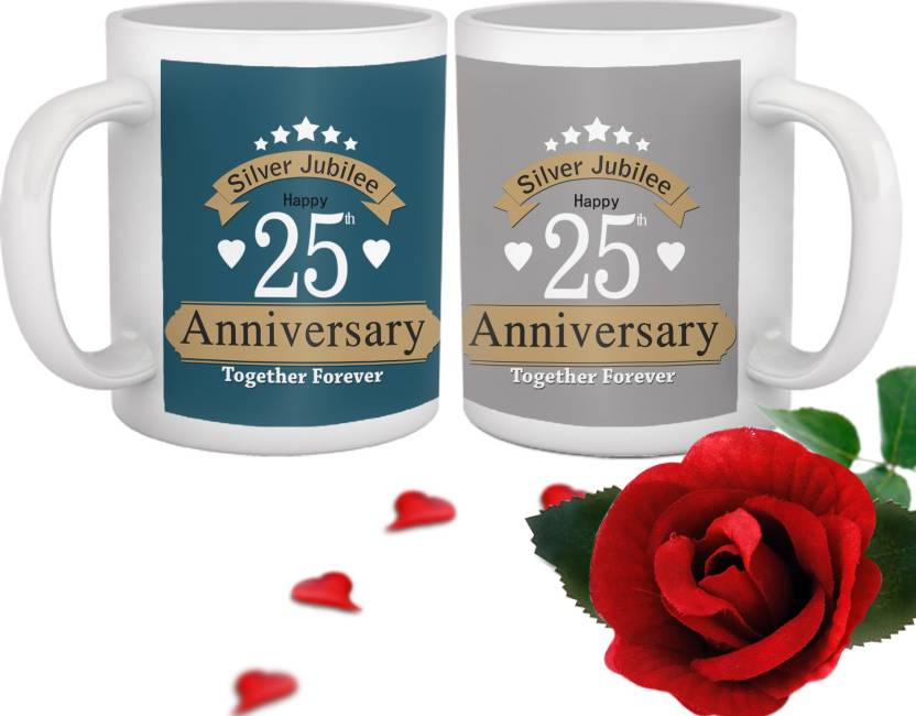 Tiedribbons Silver Jubilee 25th Wedding Anniversary Best Mug Gift