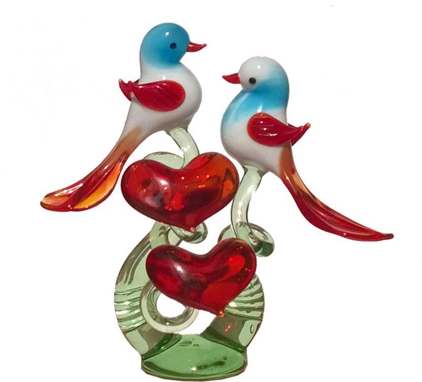 Mann Retails Love birds crystal set04 (size=wxdxh-9x4x11 5) Showpiece Gift  Set