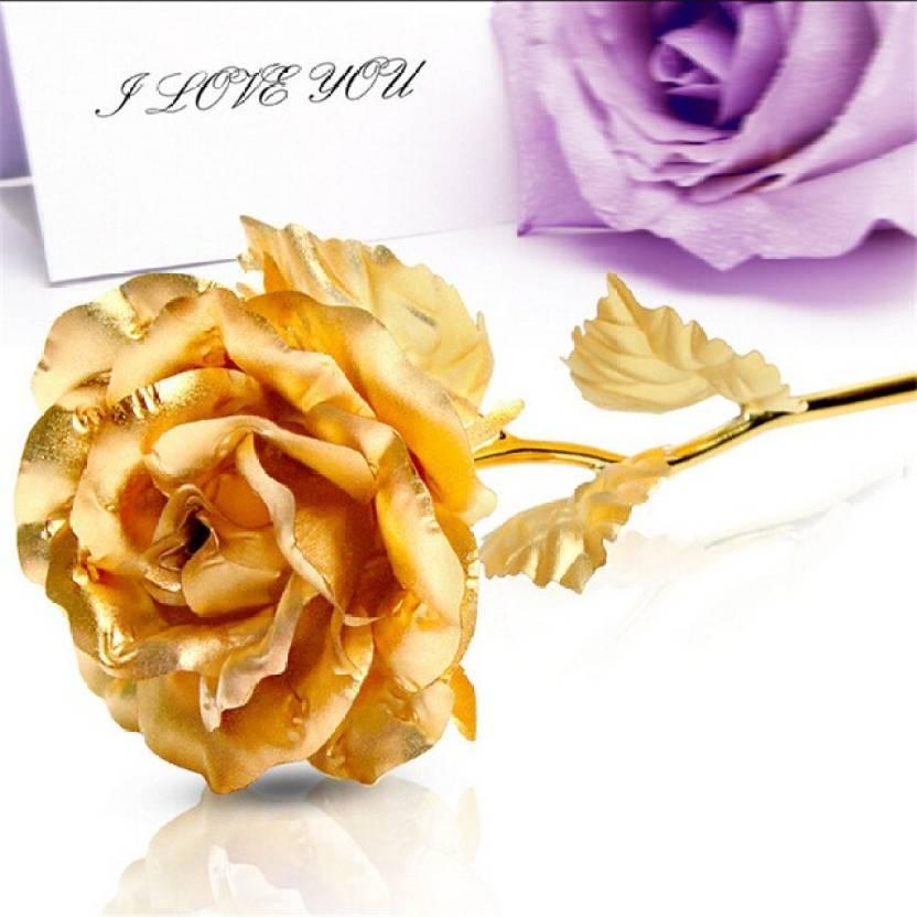 Billionbag Beautiful Golden 24 K Billionbag Valentine Gift Rose 15cm