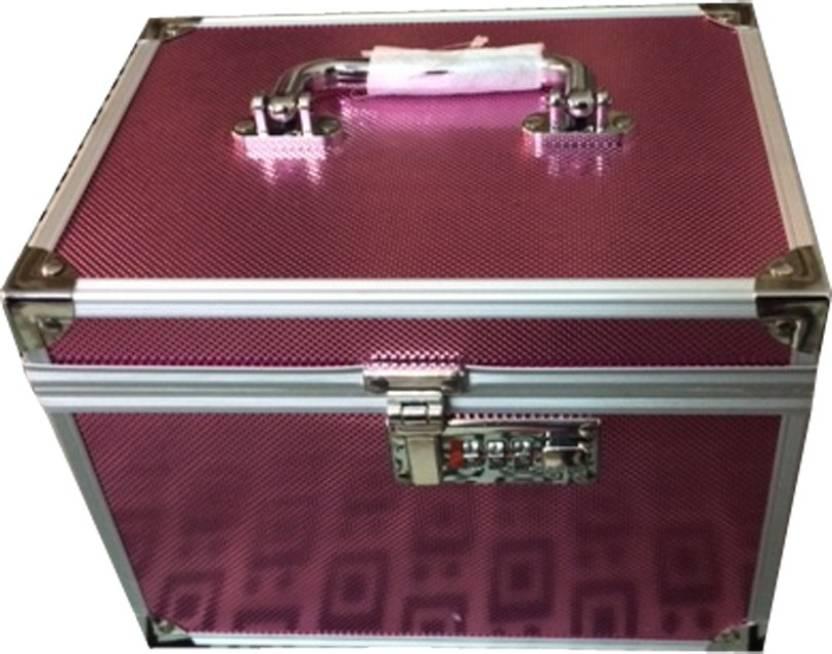 Platinum Cosmetic Box With Lock Makeup And Jewellery Vanity