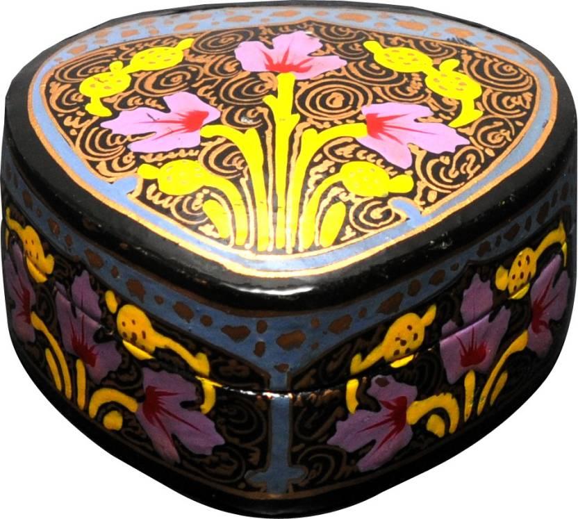 Indian Handicrafts Company Paper Mache 3 Inch Heart Jewellery Vanity