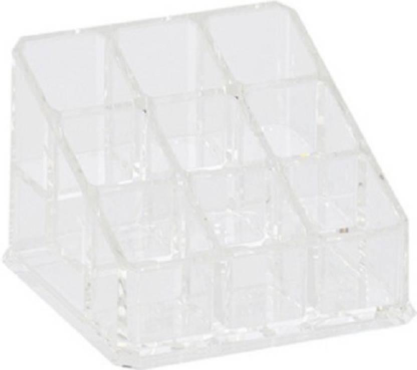 Home Genie 9 Compartment Acrylic Cosmetic Organizer Makeup Vanity Case Makeup Vanity Box
