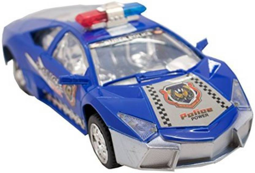 Techege Toys Blue Police Lambo Luxury Stealth Police Car Realistic