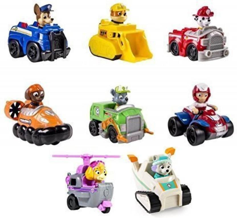 Paw Patrol Racers Bundle Of 8 Vehicles, Chase, Marshall