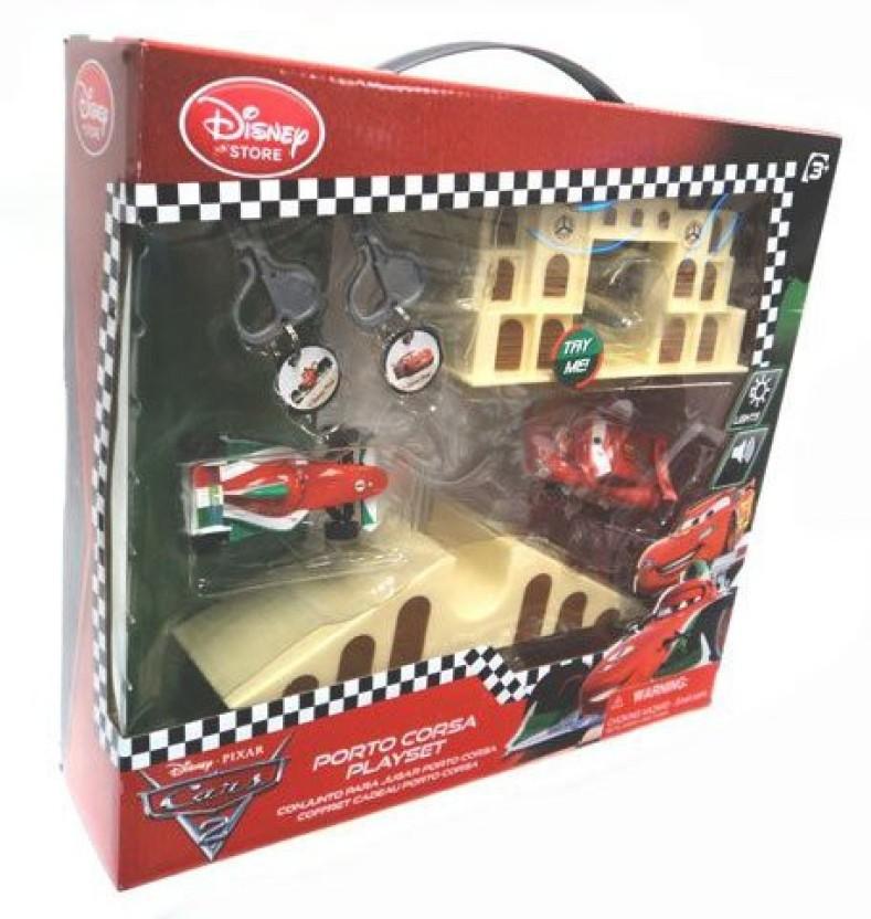 Disney Cars 2 Key Charger Porto Corsa Launcher Play Set Lightning McQueen Pixar