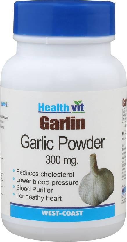 HealthVit Garlin Garlic Powder 300 Mg 60 Capsules (Pack Of 2) For  Cholesterol