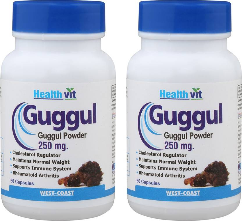 HealthVit Guggul Powder 250 mg 60 Capsules PACK OF 2 For Weight Managemen