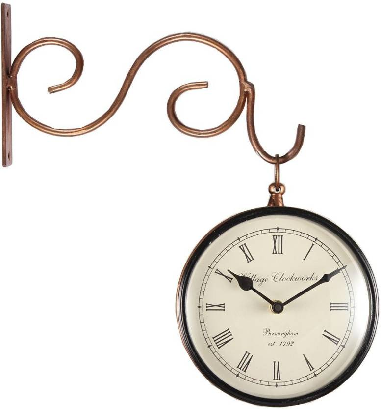 Village Clock works Analog 20 cm X 11 cm Wall Clock Price in
