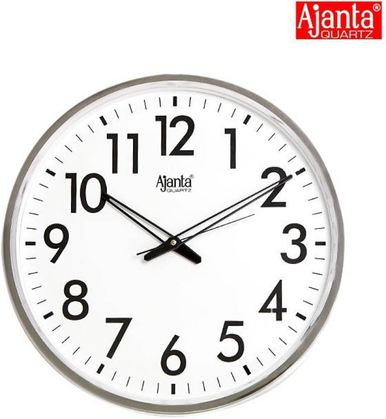 Ajanta Analog Wall Clock  (Silver white, With Glass)