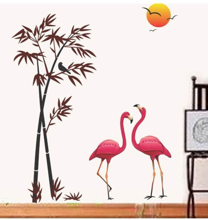 Perfect Happy Walls Pink Flamingo Birds In Bamboo Tree U0026 Sunset Background