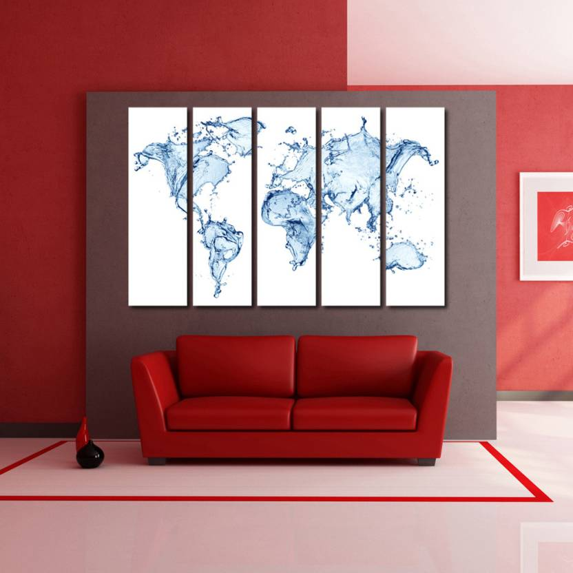 999 Store Multiple Frames Printed Water World Map like Modern Wall ...