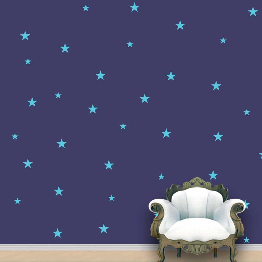 Wall Design Stars Pattern Blue Sky Stickers Set Of 118 7 5 Cm X