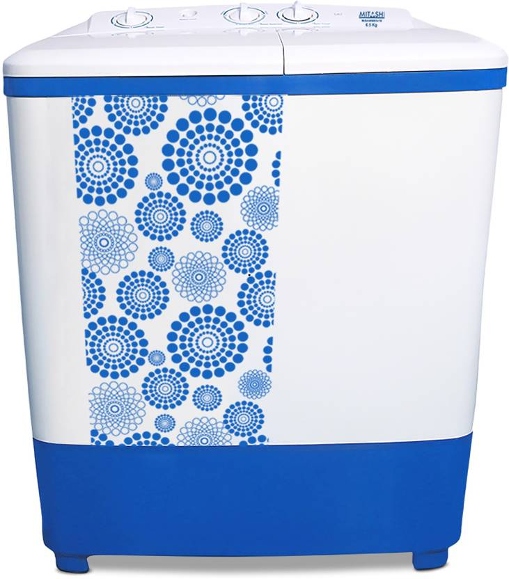 Mitashi 6.5 kg Semi Automatic Top Load Washing Machine White, Blue