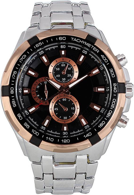 3wish Cur Silver G Black Watch For Men