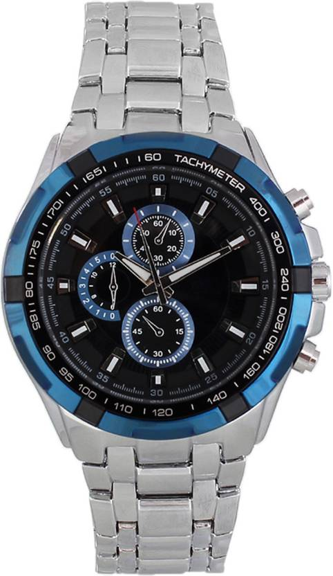 3wish Cur Silver Blue Watch For Men
