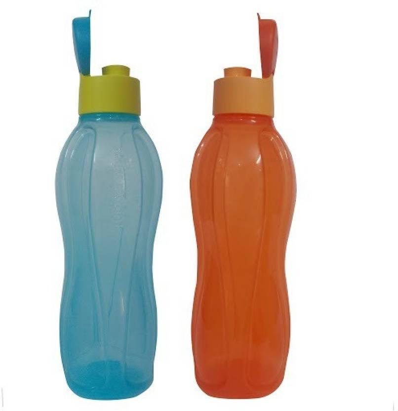 Tupperware Fliptop 1000 ml Water Bottles Set of 2, Red, Blue