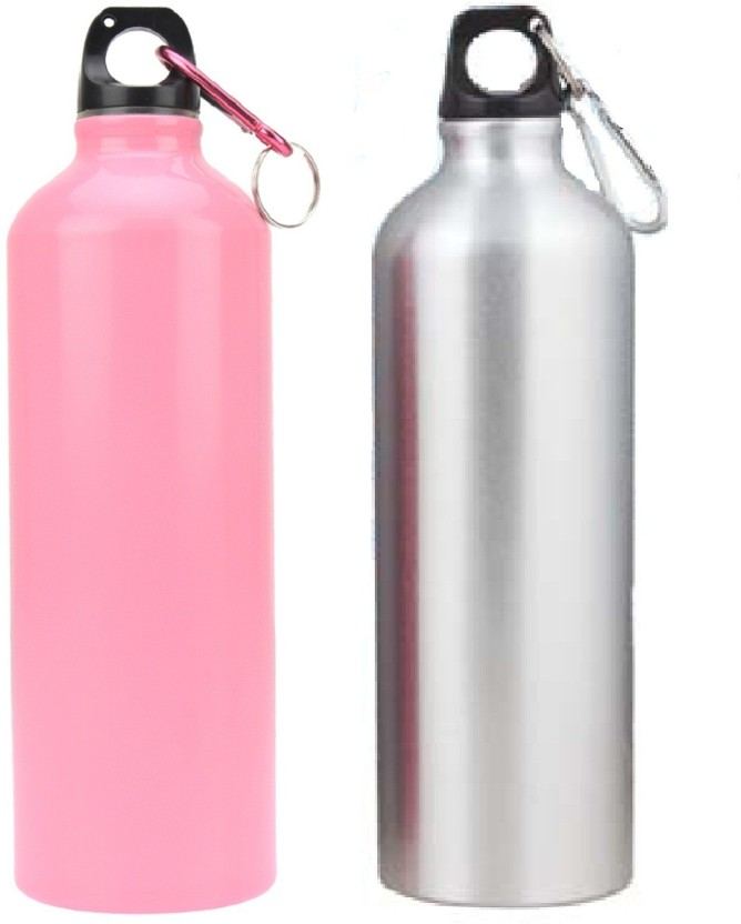 carabiner Hot Pink Aluminum Metal Sports Water Bottle Canteen