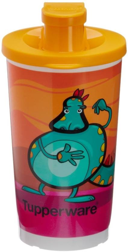 Tupperware Printed Tumbler With Sipper Seal 350 ml Water Bottle Set of 1, Multicolor