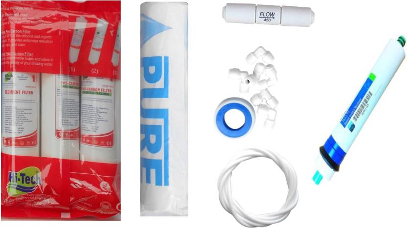 Hi Tech 1 Year RO service Kit with Inline set, Pentair 75 GPD membrane,  Pure Spun and Other Accessories Solid Filter Cartridge