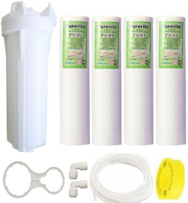 "BalRama Prefilter 10"" Housing Set with 4 Spun Candle, Spanner & Pipe Solid Filter Cartridge"