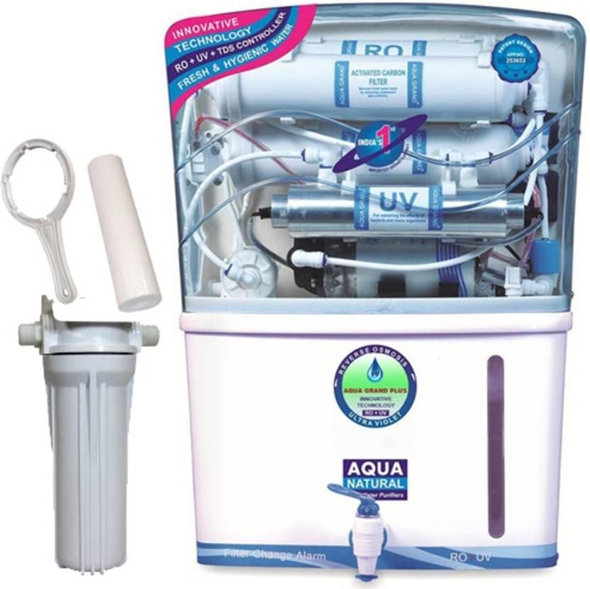 8daa38c79 Aqua Grand Plus Skyscraper RO + UV+UF+TDS Adjuster+ Mineral Cartridge +  Prefilter 12 L UV Water Purifier (White)