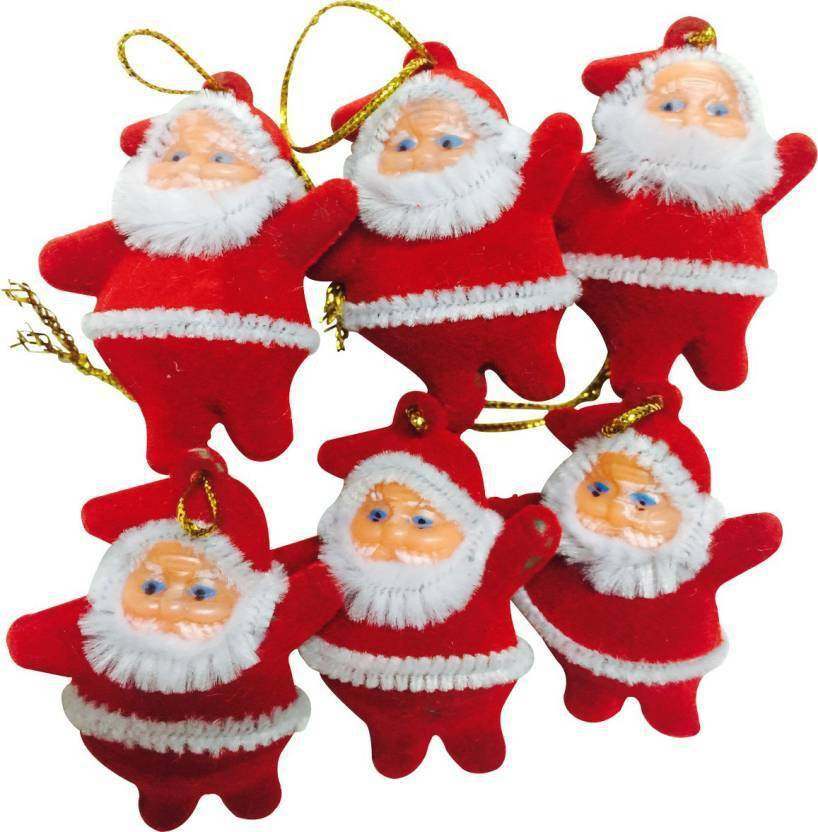 Nxt Gen Small Santa For Tree Decoration Hanging Ornaments Pack Of 6