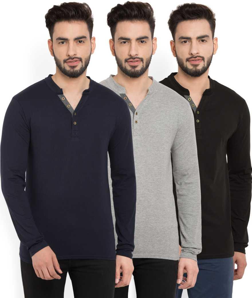 BillionPerfectFit Solid Men Henley Multicolor T Shirt Pack of 3  Billion Men's T shirts