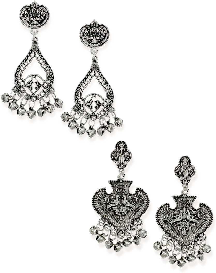 Zaveri PearlsCombo of 2 Finely Detailed Dangle Earring Zinc Drops & Danglers