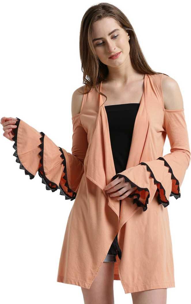 TexcoWomen Waterfall Full Sleeve Orange Shrug Texco Women's Shrugs