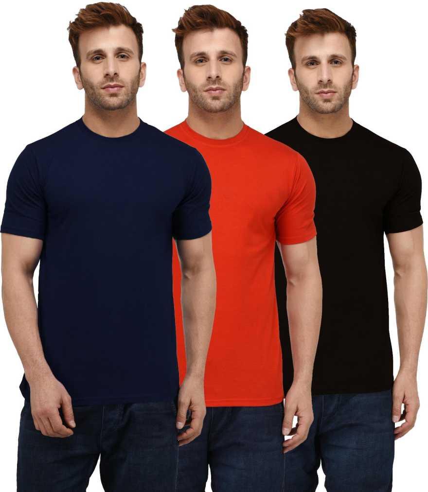 London Hills Solid Men Round Neck Multicolor T Shirt