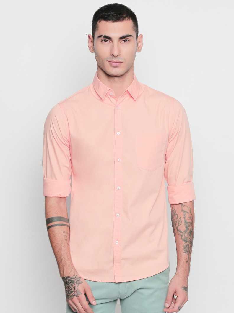 Dennis LingoMen Slim Fit Solid Slim Collar Casual Shirt