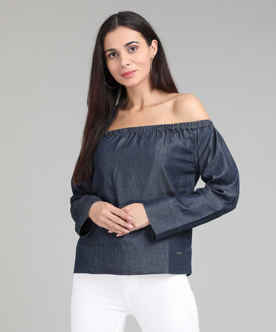 Flying Machine Casual Full Sleeve Solid Women Dark Blue Top