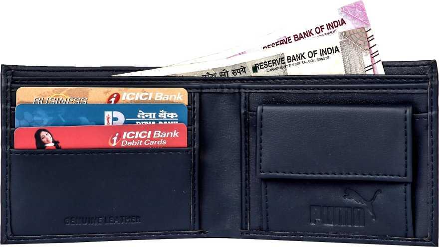 PumaMen Blue Artificial Leather Wallet 3 Card Slots  Puma Wallets
