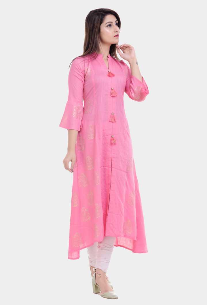 Vastranikhar Women Printed Rayon High Low Kurta for ₹474