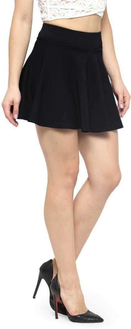N Gal Solid Women Flared Black Skirt