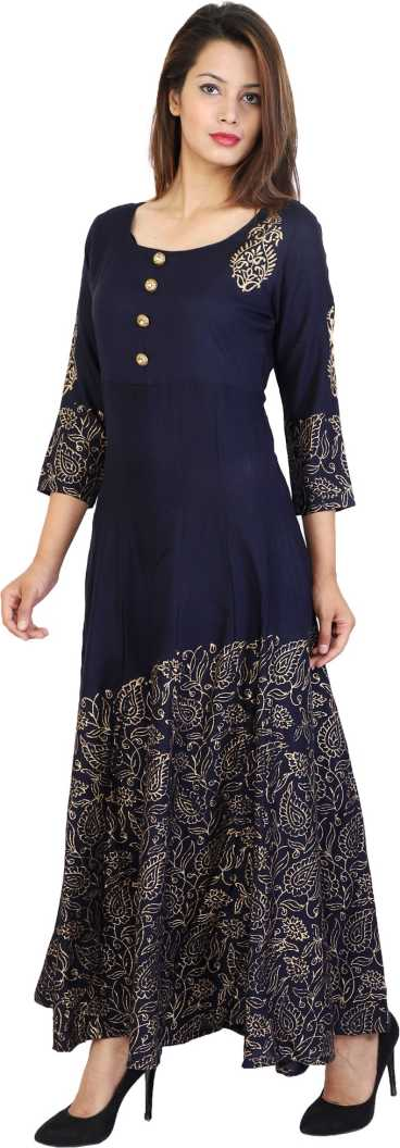Metro Fashion Women Printed Flared Kurta  (Dark Blue)