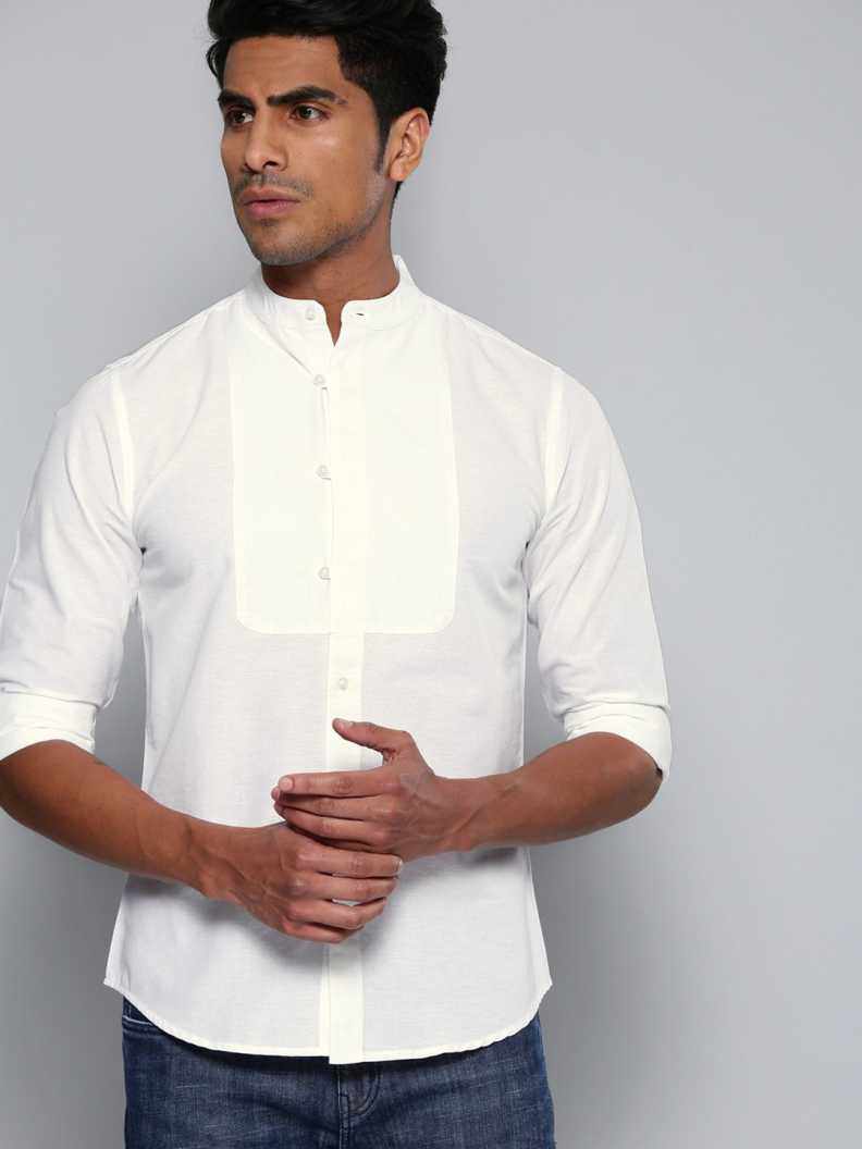 Dennis Lingo Men Slim Fit Solid Mandarin Collar Casual Shirt
