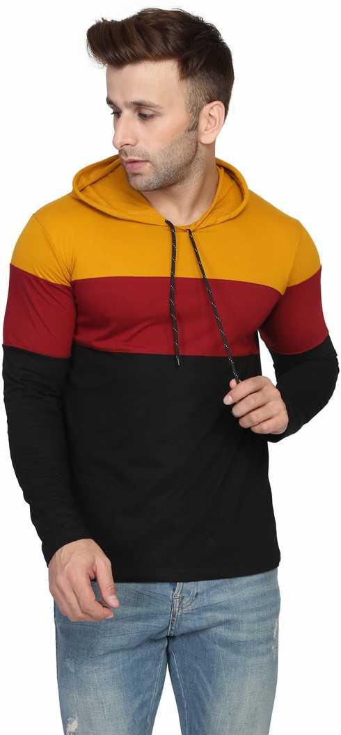 Katso Solid Men Hooded Neck Yellow T Shirt