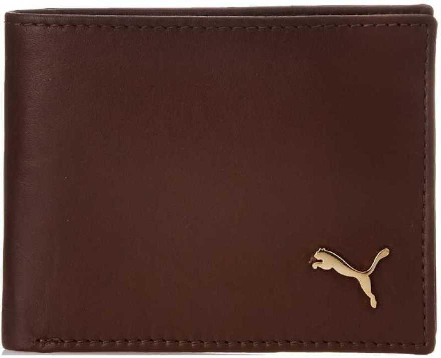 PumaMen Brown Genuine Leather Wallet 4 Card Slots