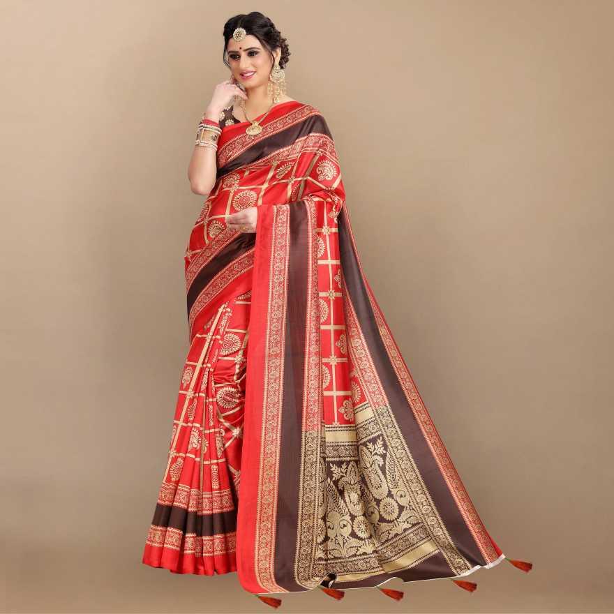 KeharaPrinted Bollywood Art Silk Saree Red