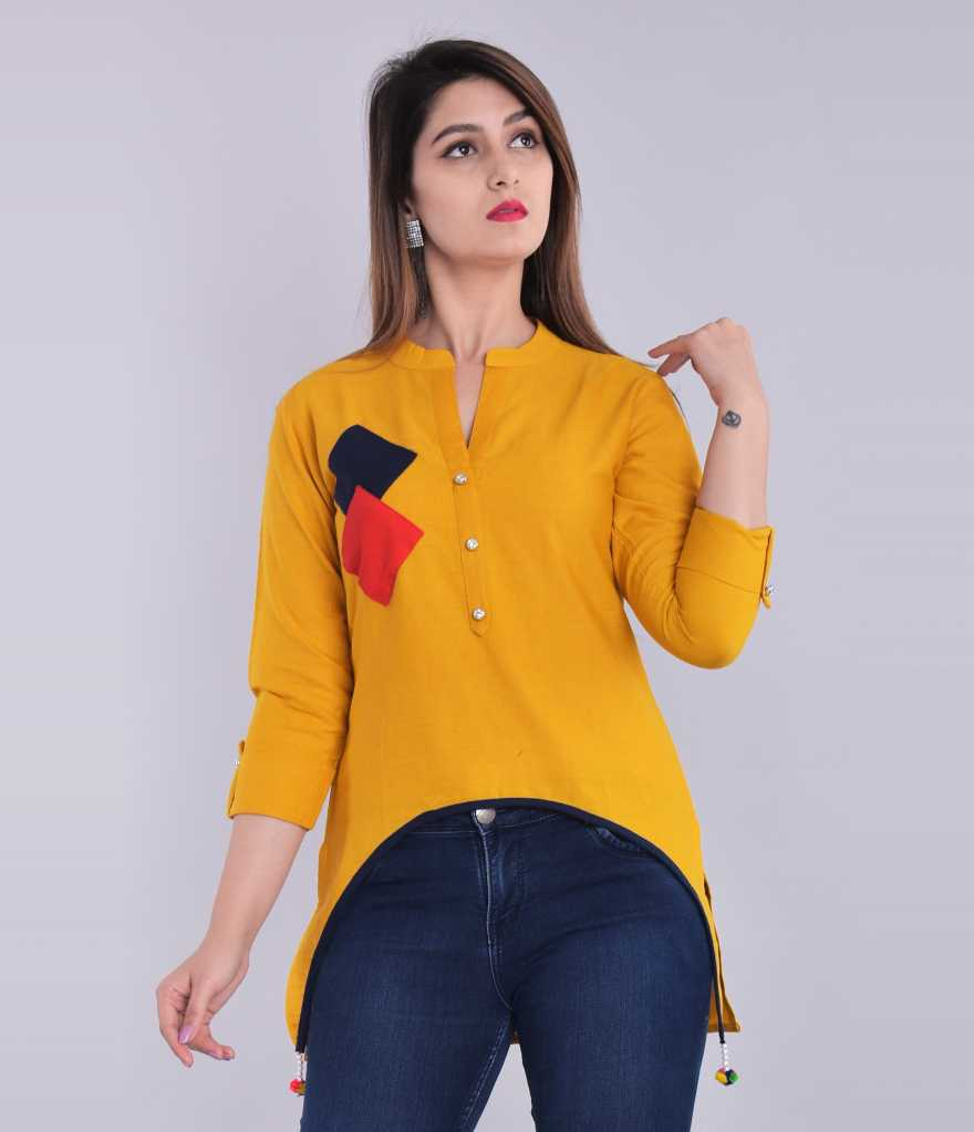 Blezza Casual 3/4 Sleeve Solid Women Yellow Top