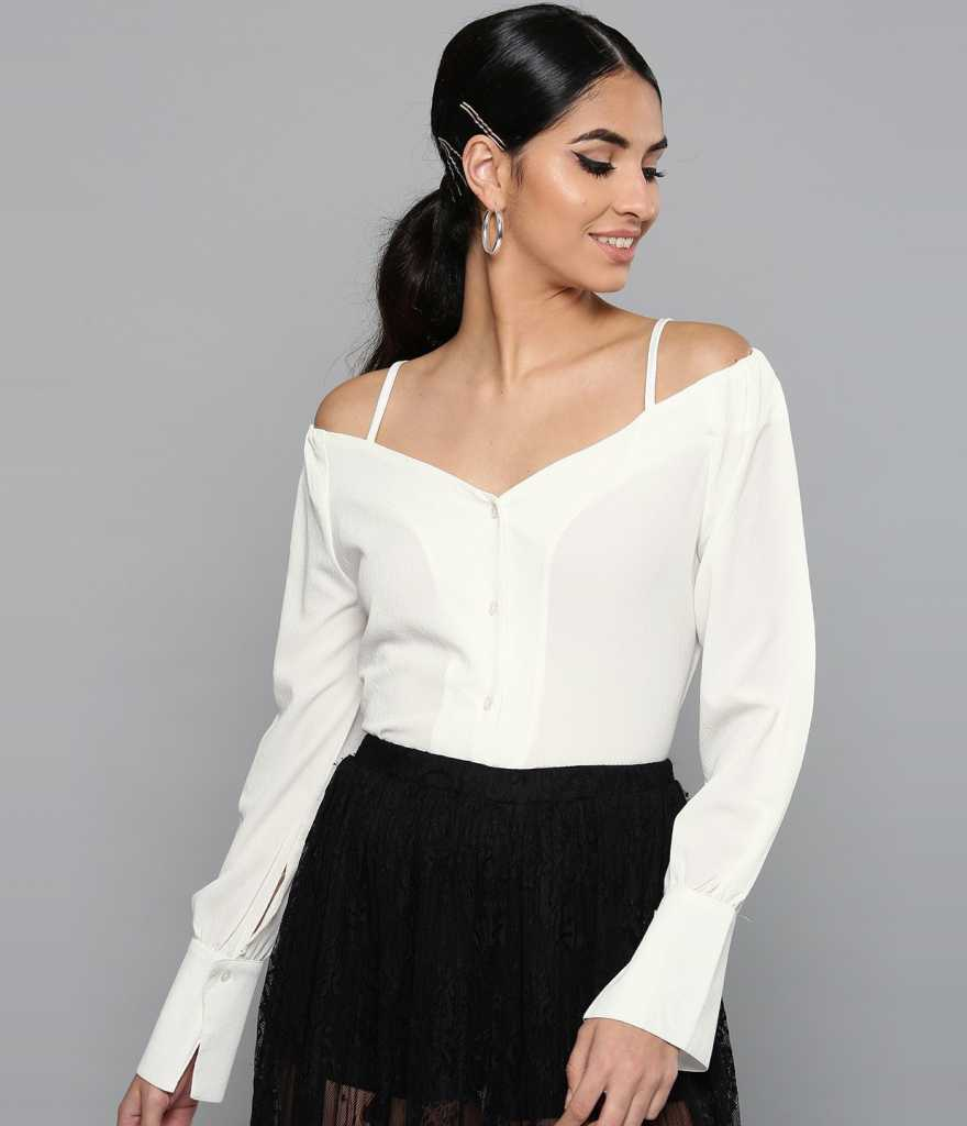HARPACasual Cuffed Sleeves Solid Women White Top