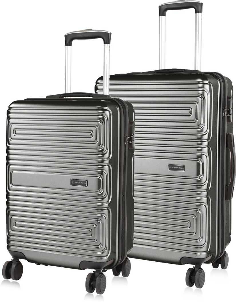 NASHER MILESHard Body Set of 2 Luggage – Dalhousie Hard-sided Poycarbonate Luggage Set of 2 Charcoal Grey Trolley Bags (55 & 65 Cm) – Grey
