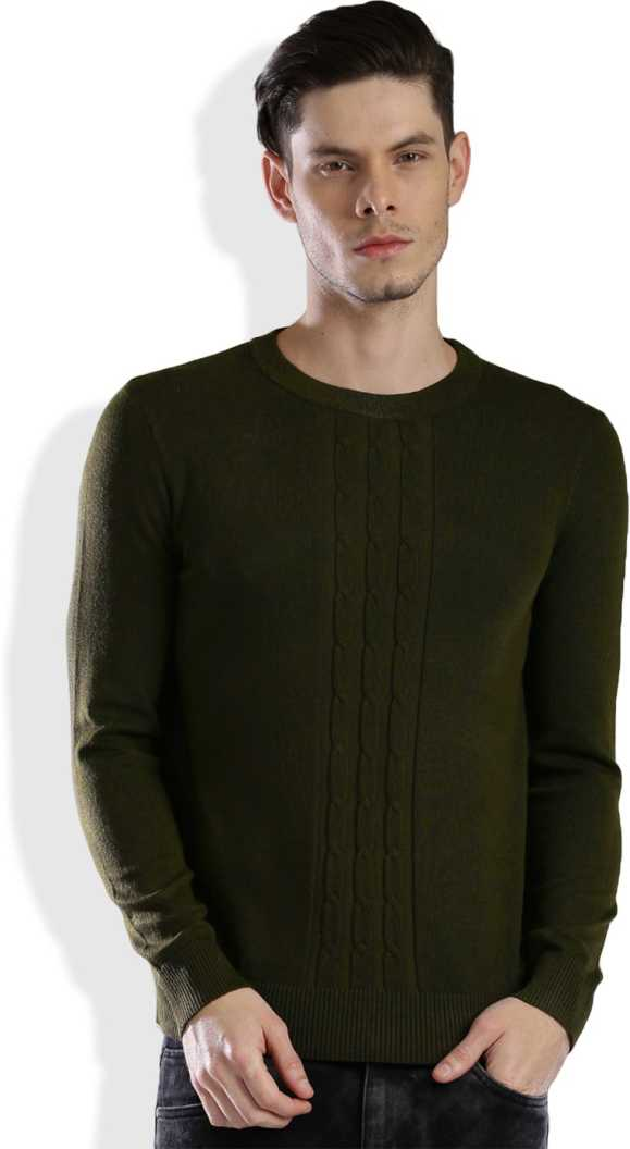 HRX by Hrithik RoshanSelf Design Round Neck Casual Men Green Sweater