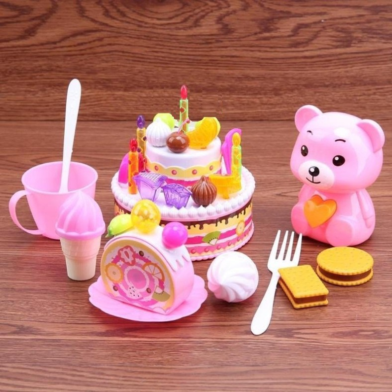 Remarkable Cherrybox Birthday Cake Multicolored Pretend Play Set With Teddy Funny Birthday Cards Online Aboleapandamsfinfo