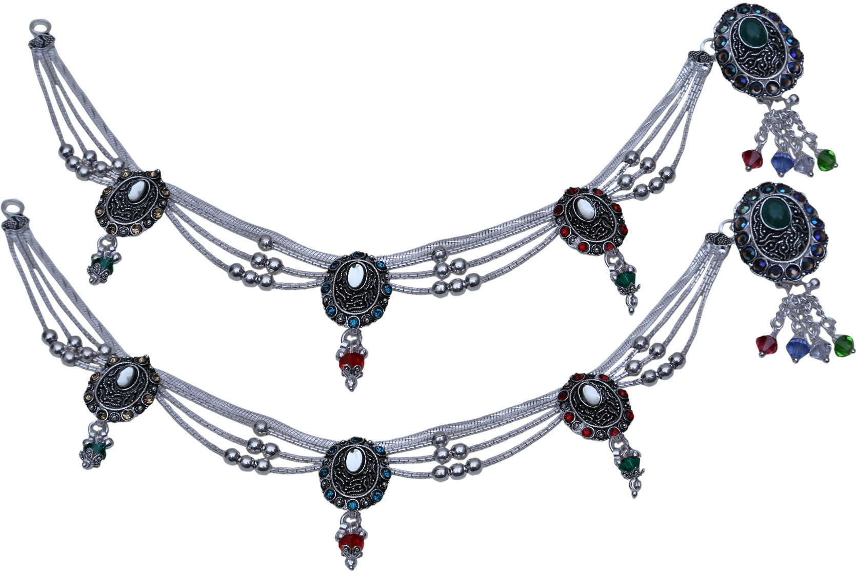 Aman d8nv4807 Ball Chain Jhula Payal Silver Anklet - Best Price in ...