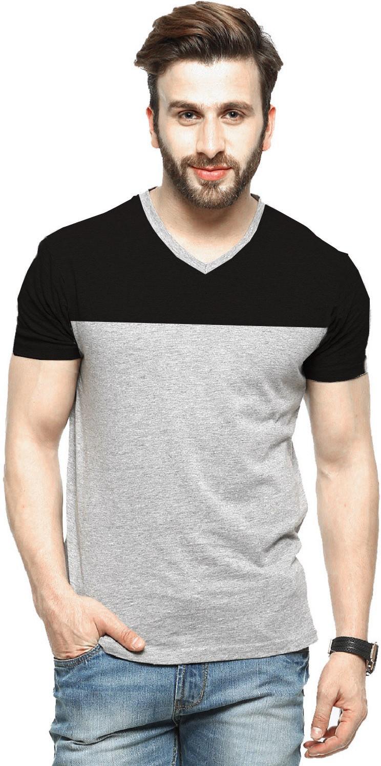 Tripr Color block Men V-neck Black, Grey T-Shirt