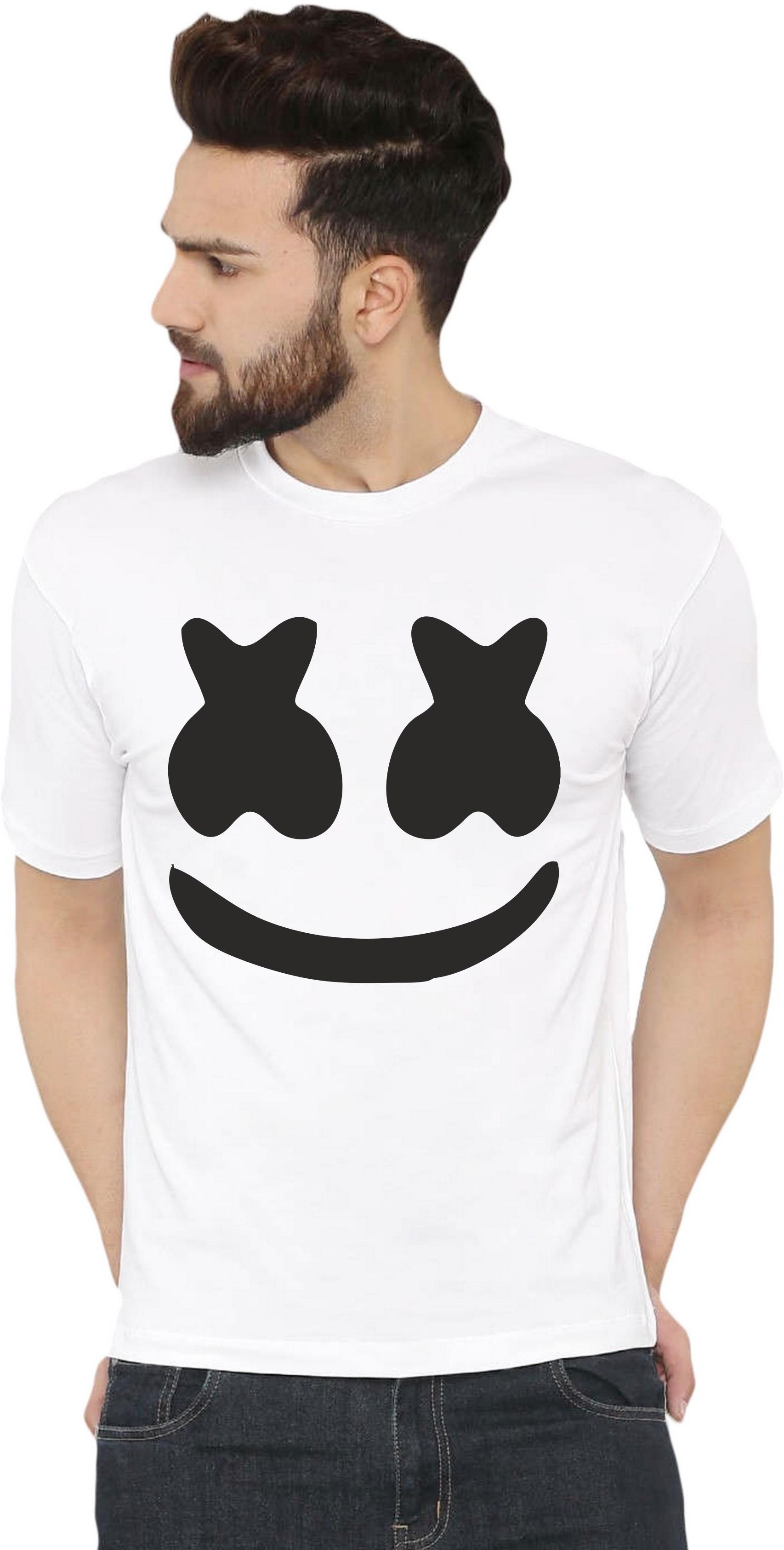 Graphic Print Men Round Neck White, Black T-Shirt